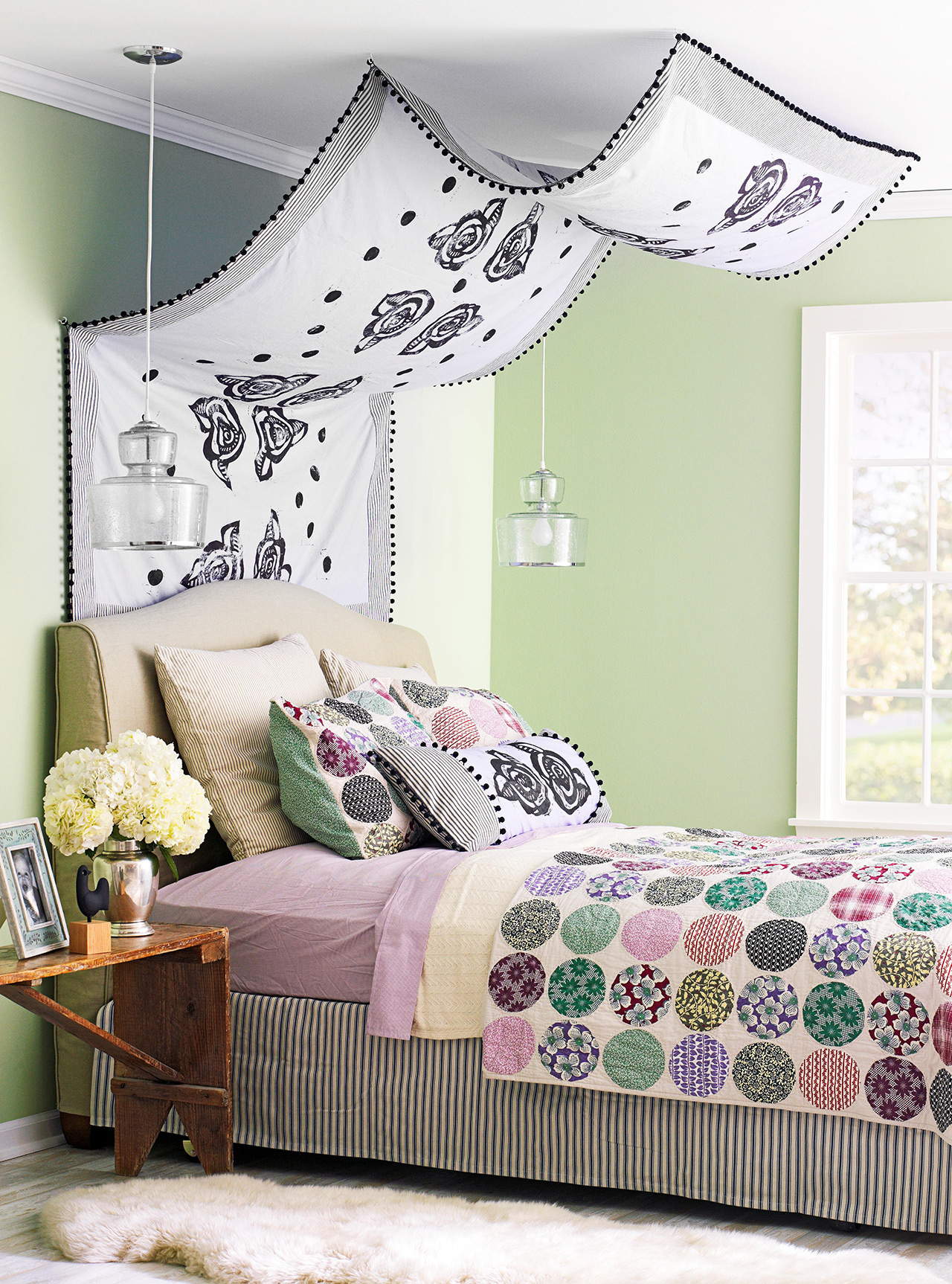 sheet as bed canopy green walls