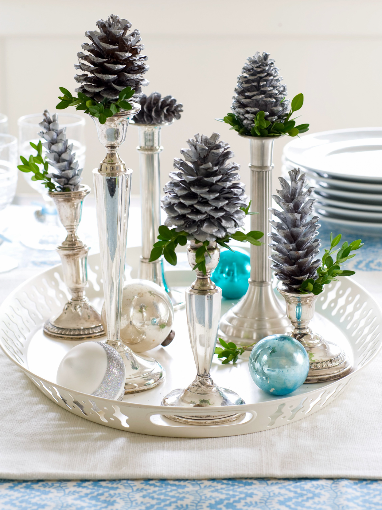 Winter Pinecone Display