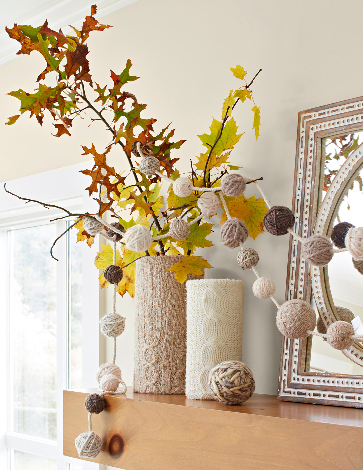 vases with knit sweater fabric