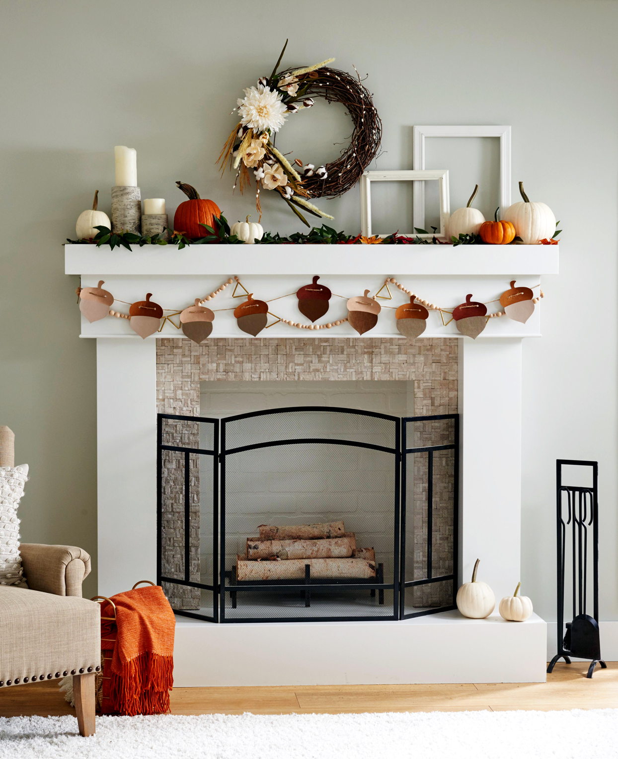 white mantel with fall decorations