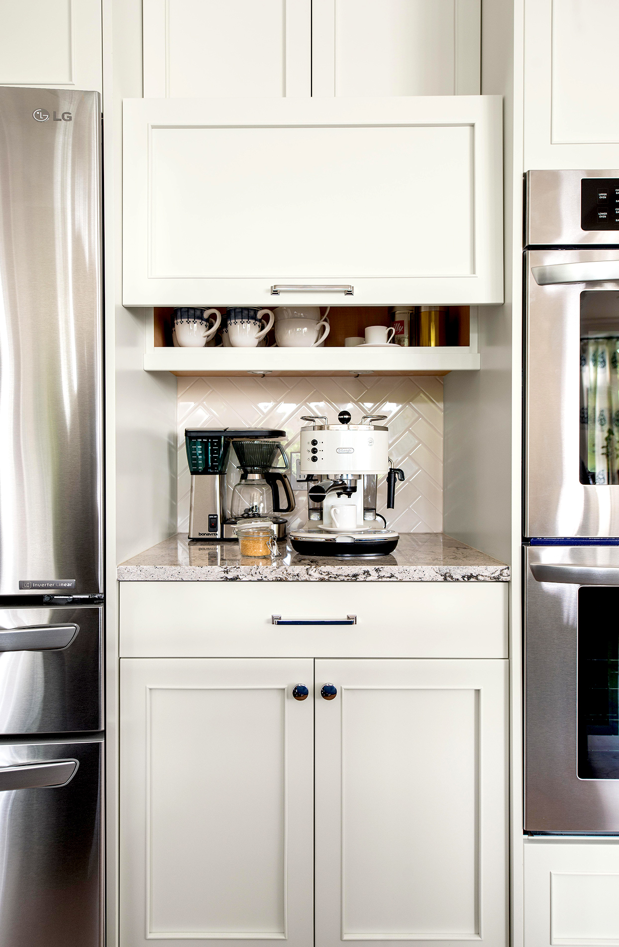 coffee station with lift up appliance garage door