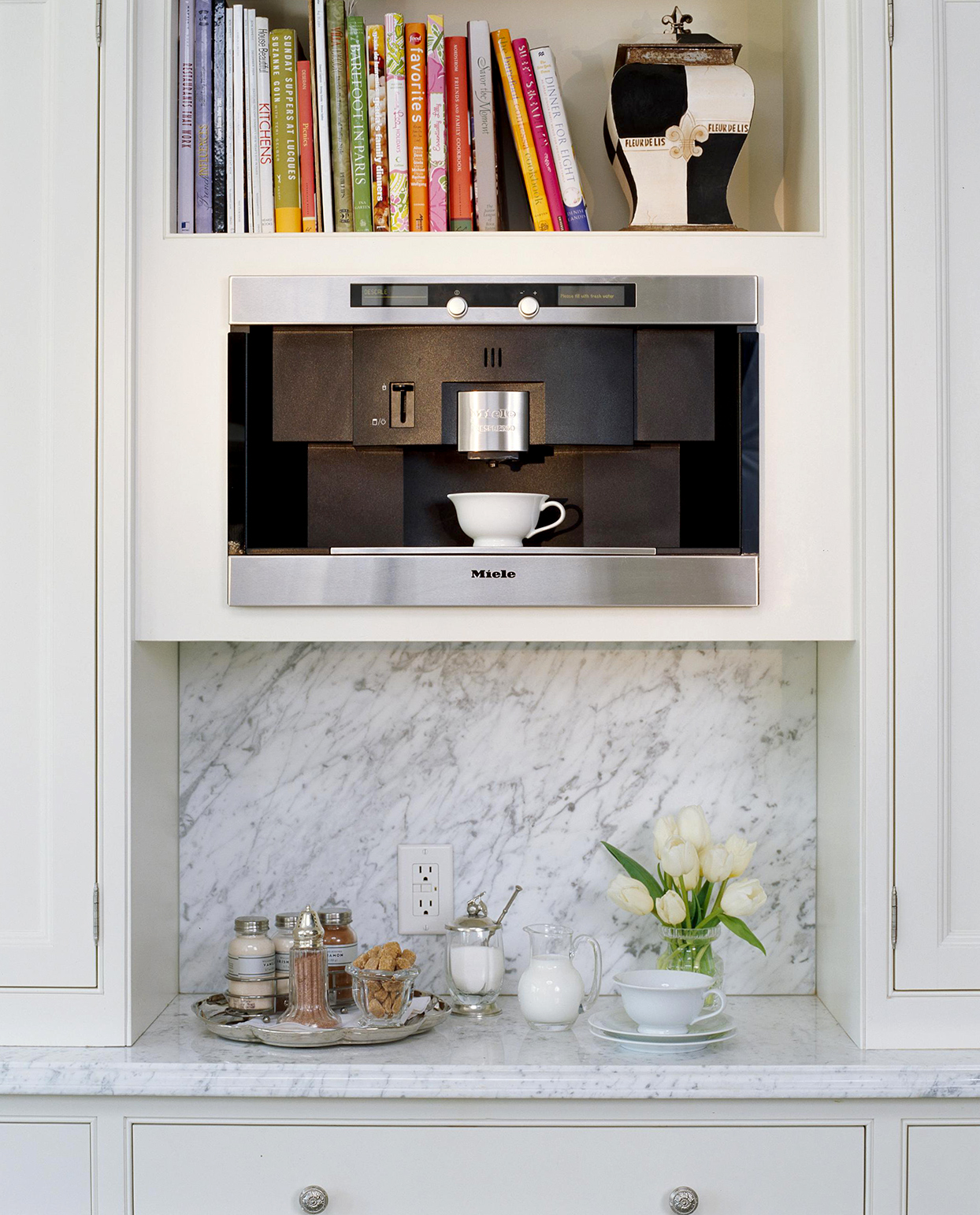 marble shelving with coffee station