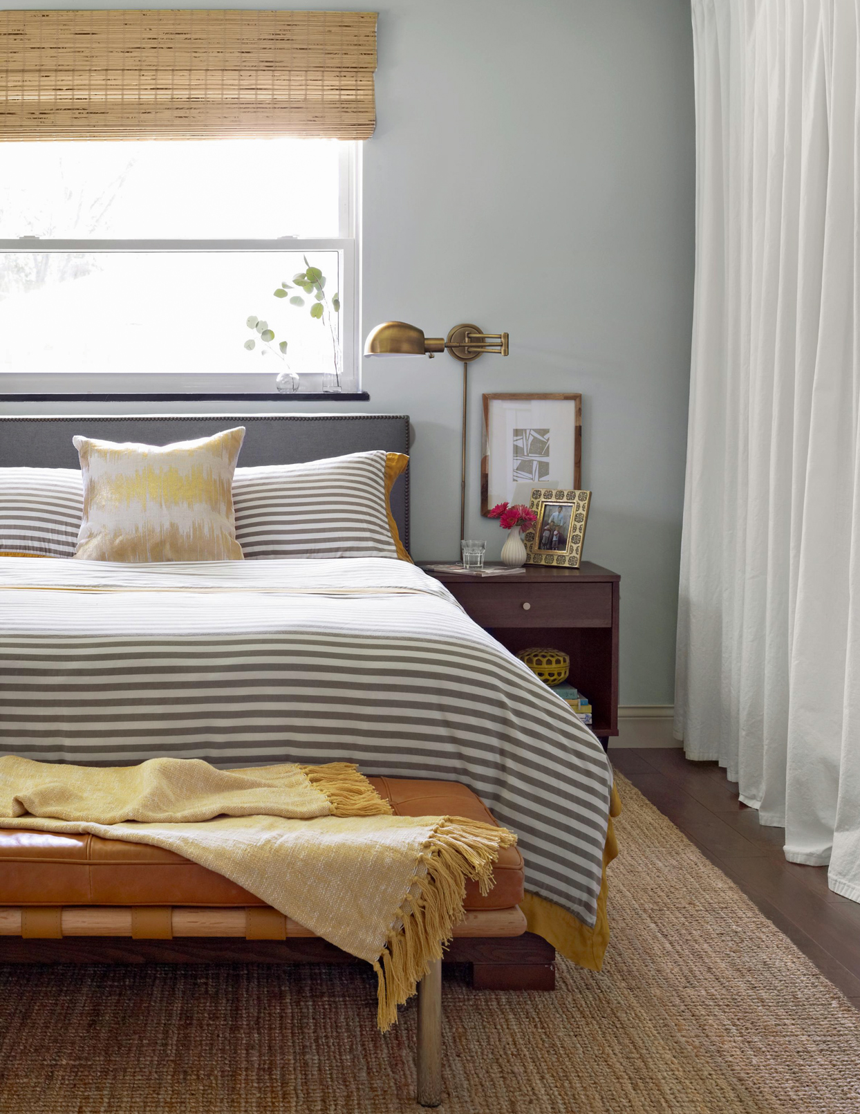 bedroom striped bed spread