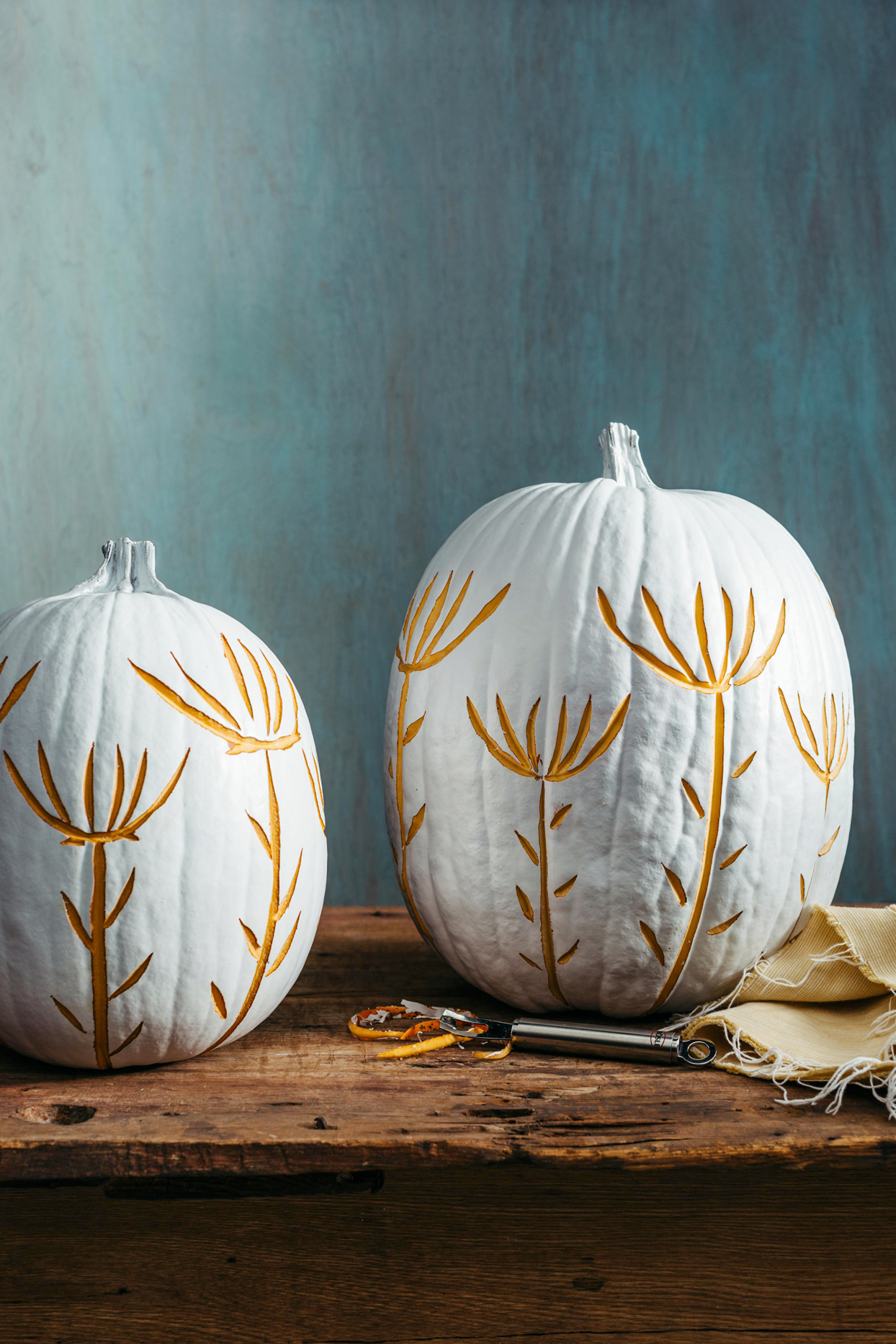 Etched White Pumpkins