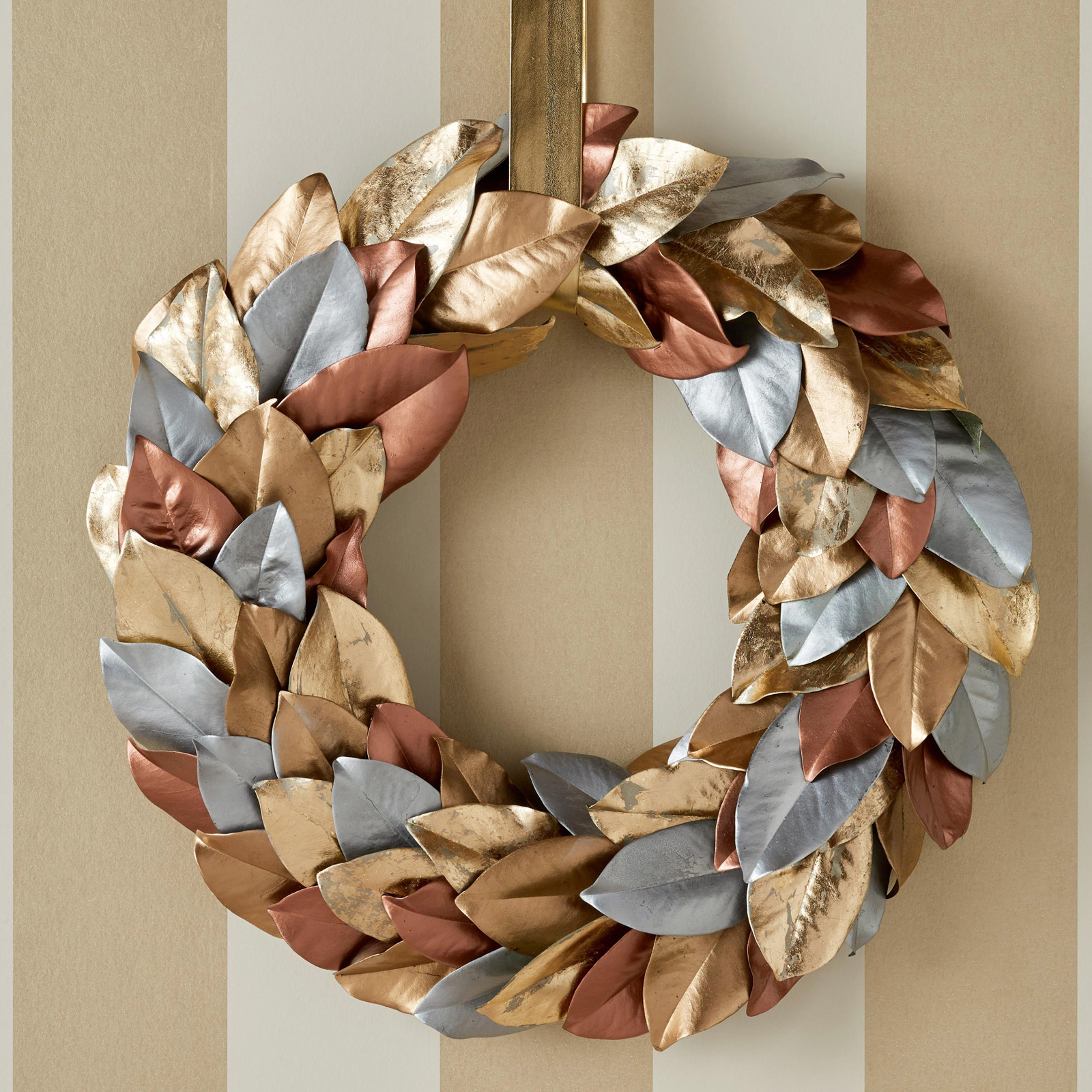 metallic leaves wreath