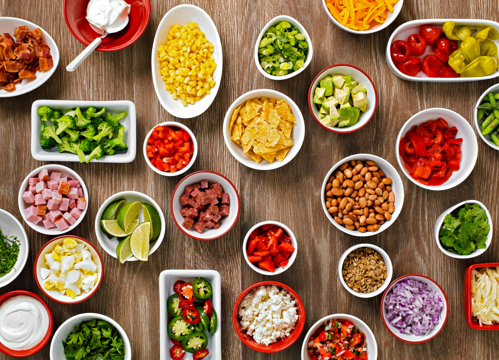 table of baked potato toppings