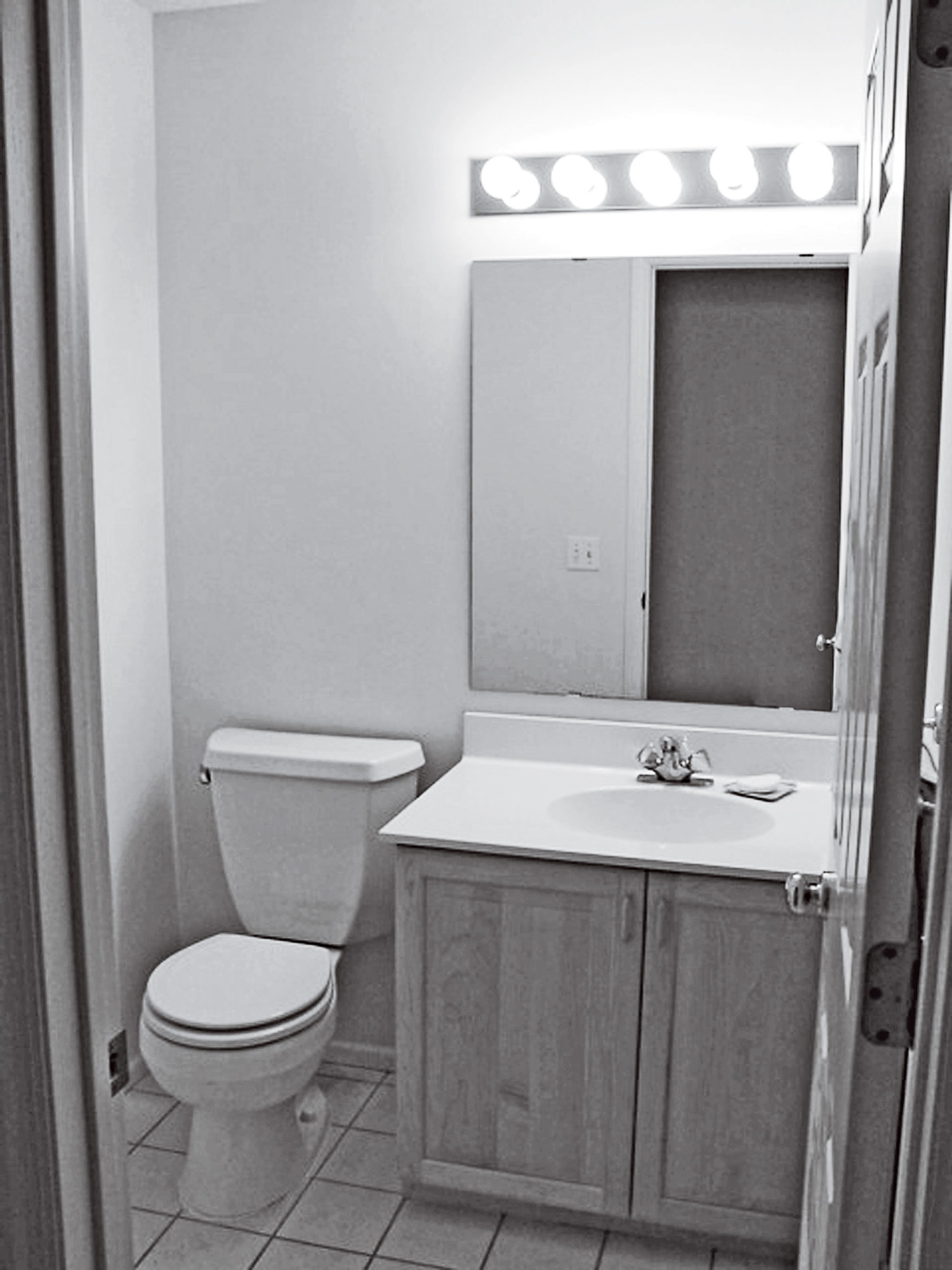 black and white before small powder room