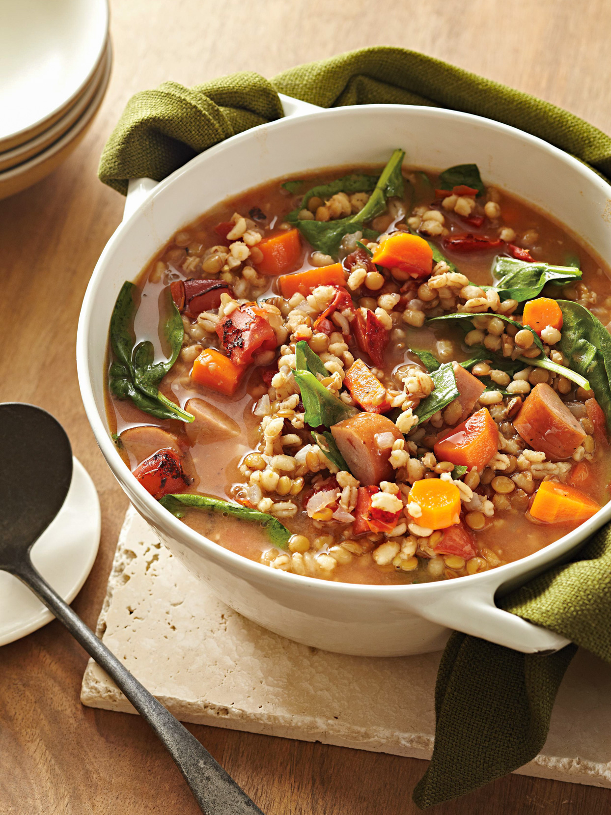 Lentil-Toasted Barley Soup with Sausage