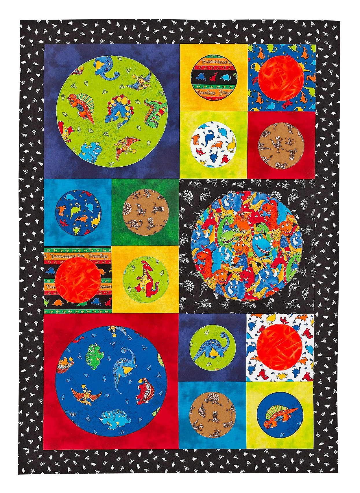 quick bold dinosaur quilt with blocks, circles and border
