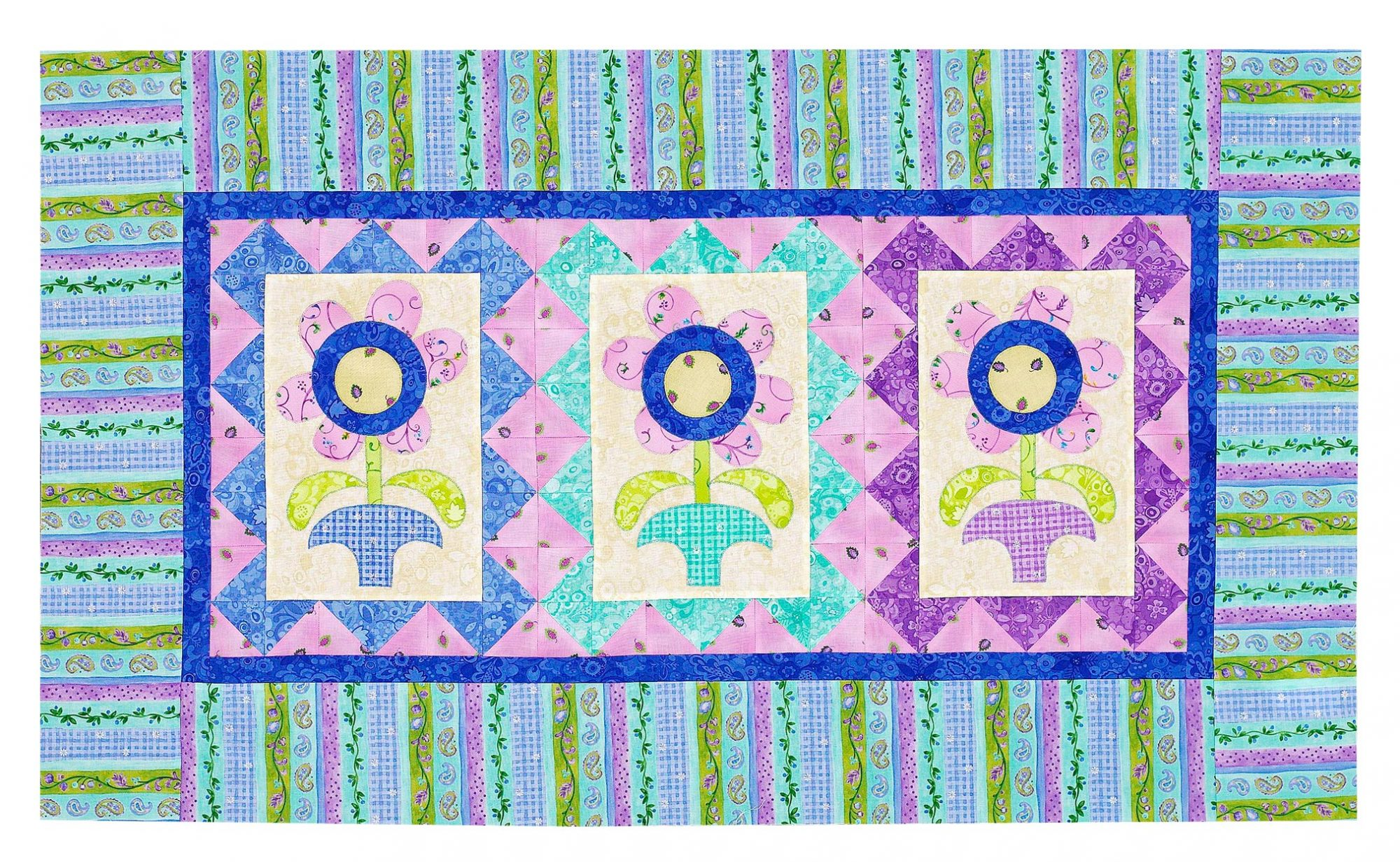 blue and purple floral faux headboard quilt
