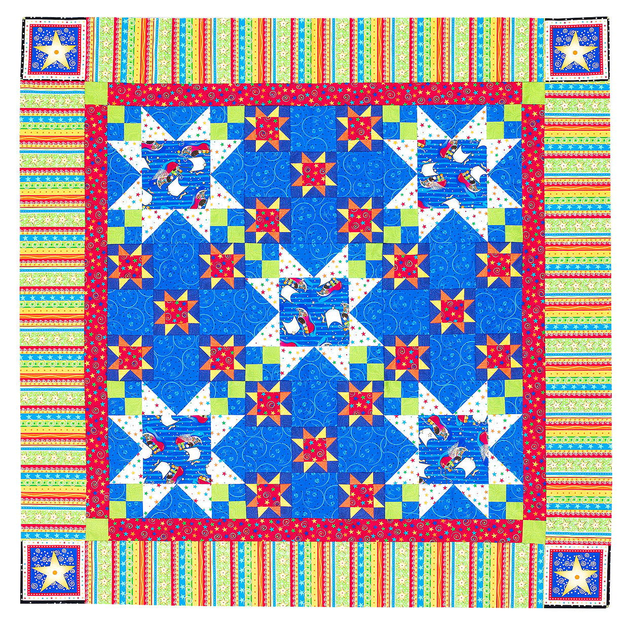 green, blue and red starry night square quilt