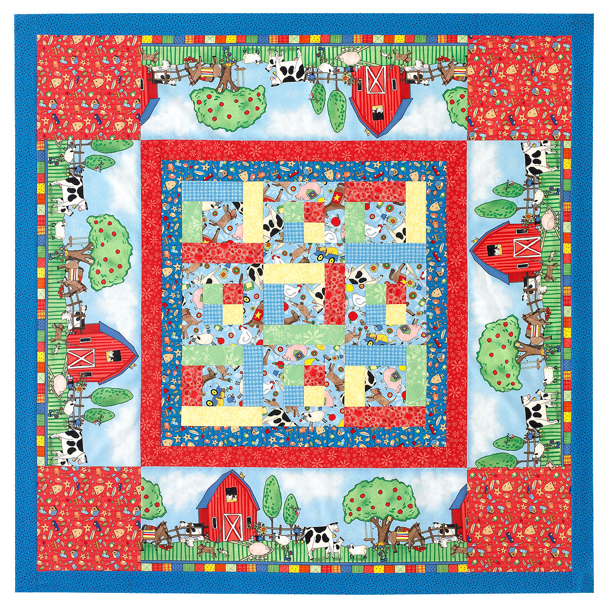 square quilted baby play mat with farm-inspired fabric