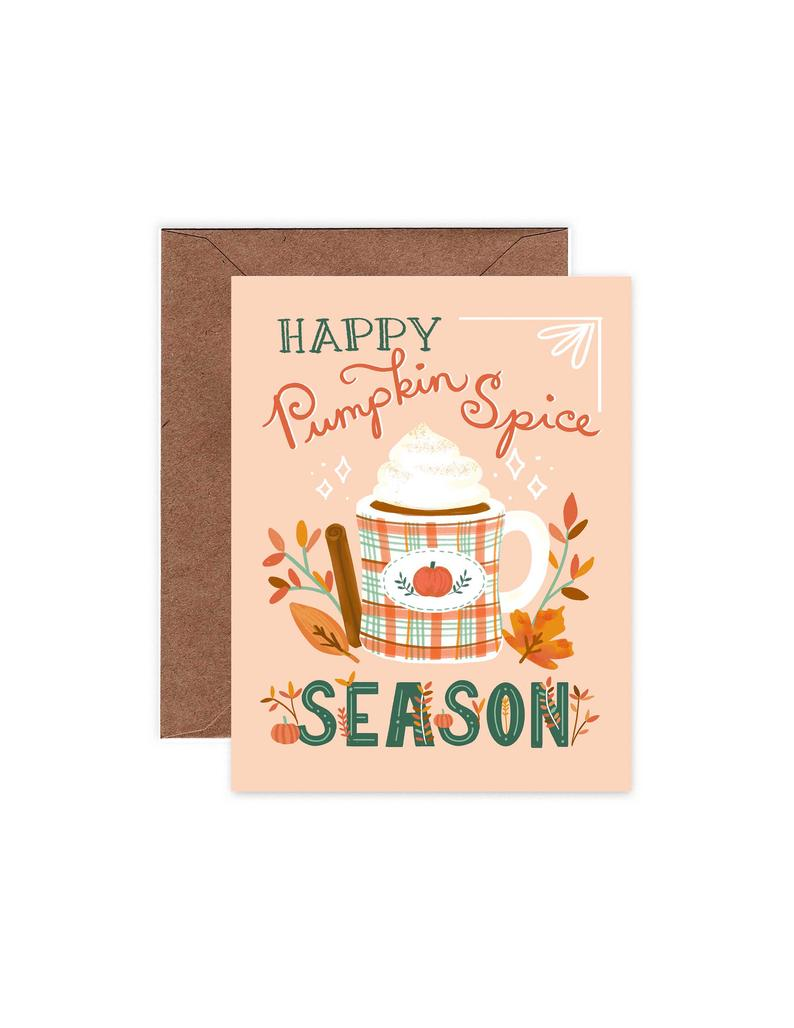 pink card with pumpkin spice latte on it