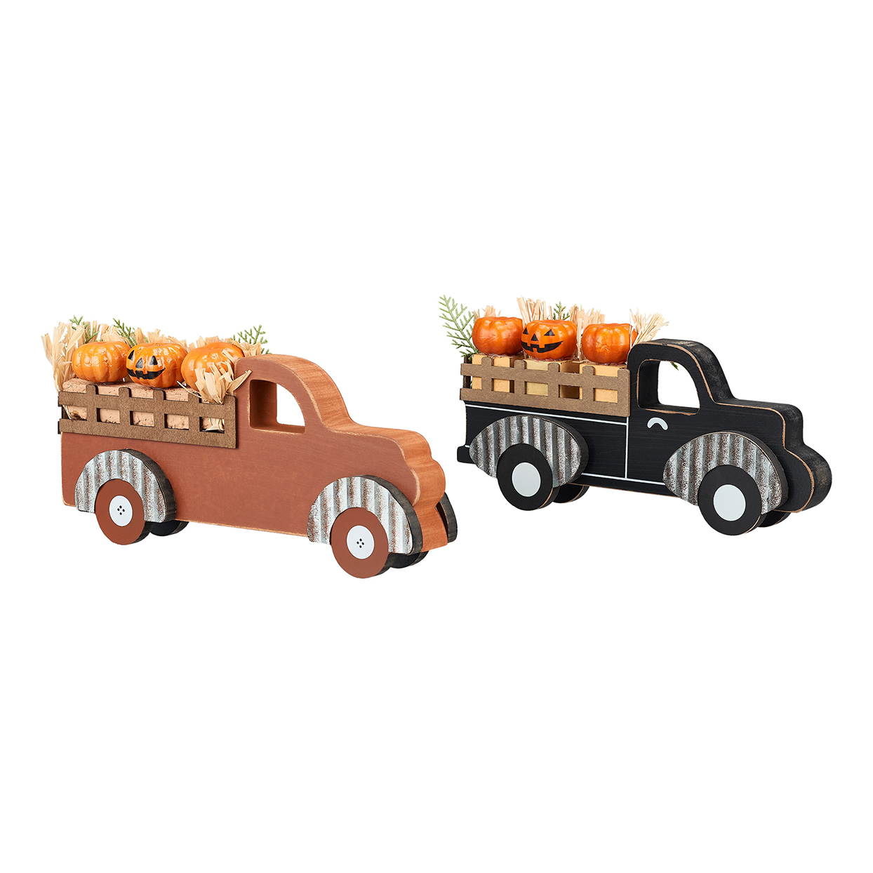 Way to Celebrate Wood Pumpkin Antique Truck Table Top Halloween Decoration