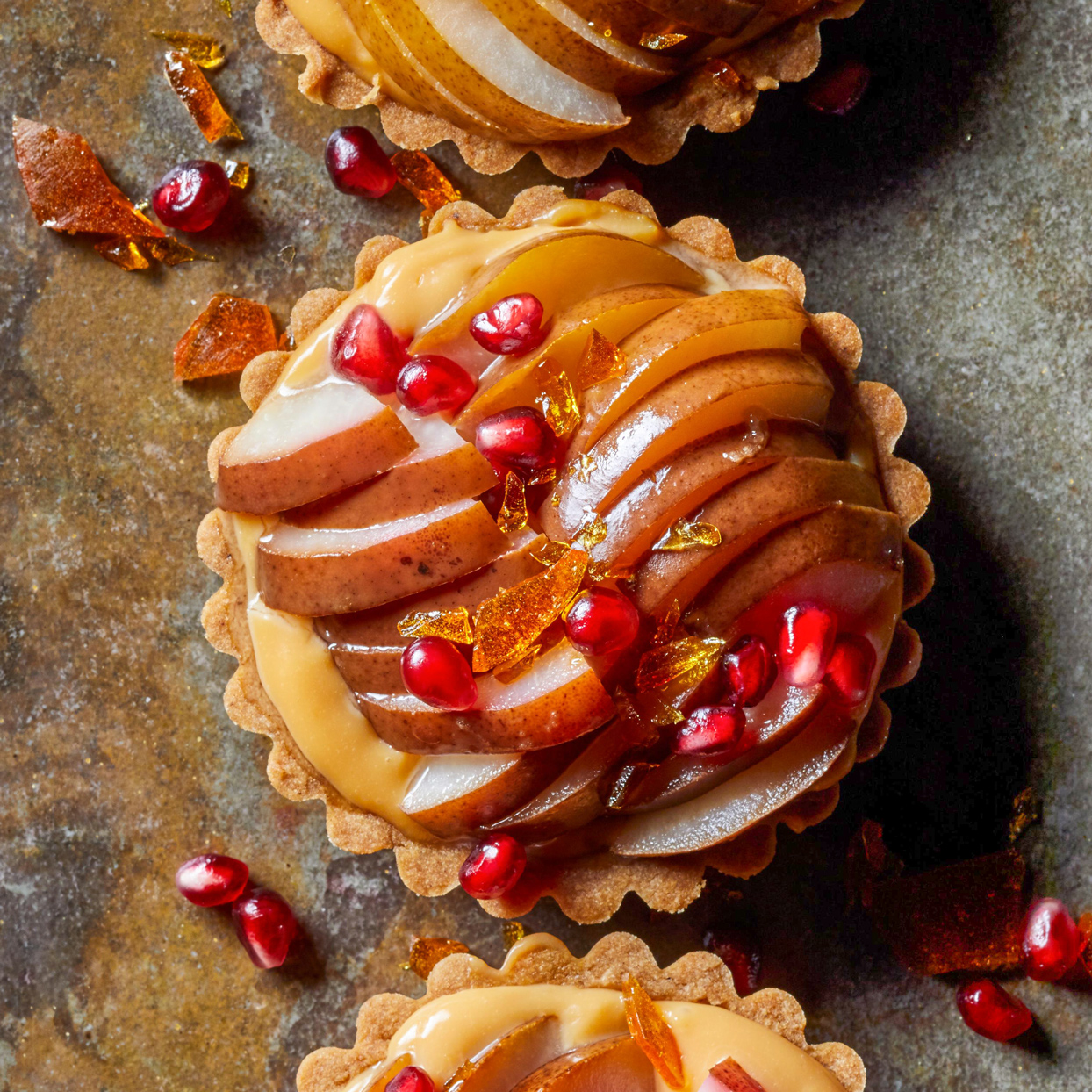 Pear Tarts with Caramelized Pastry Cream