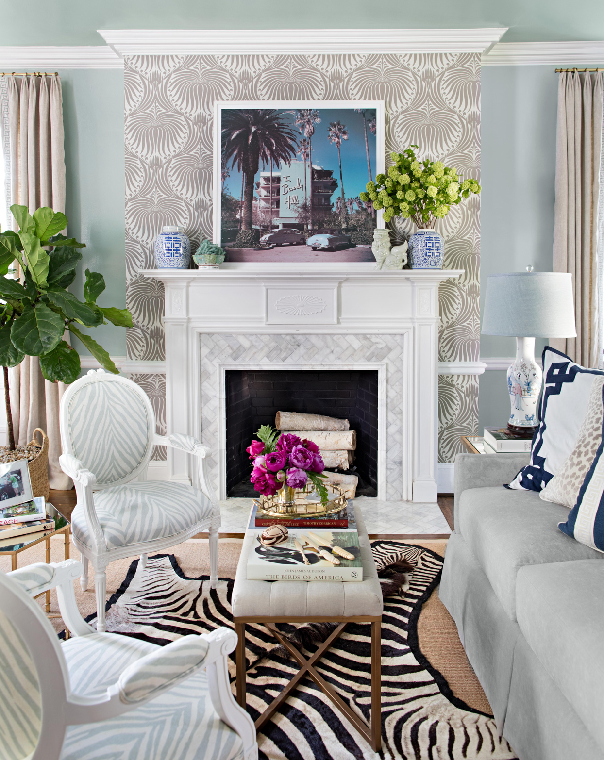 mantel decor art deco-influenced wallpaper