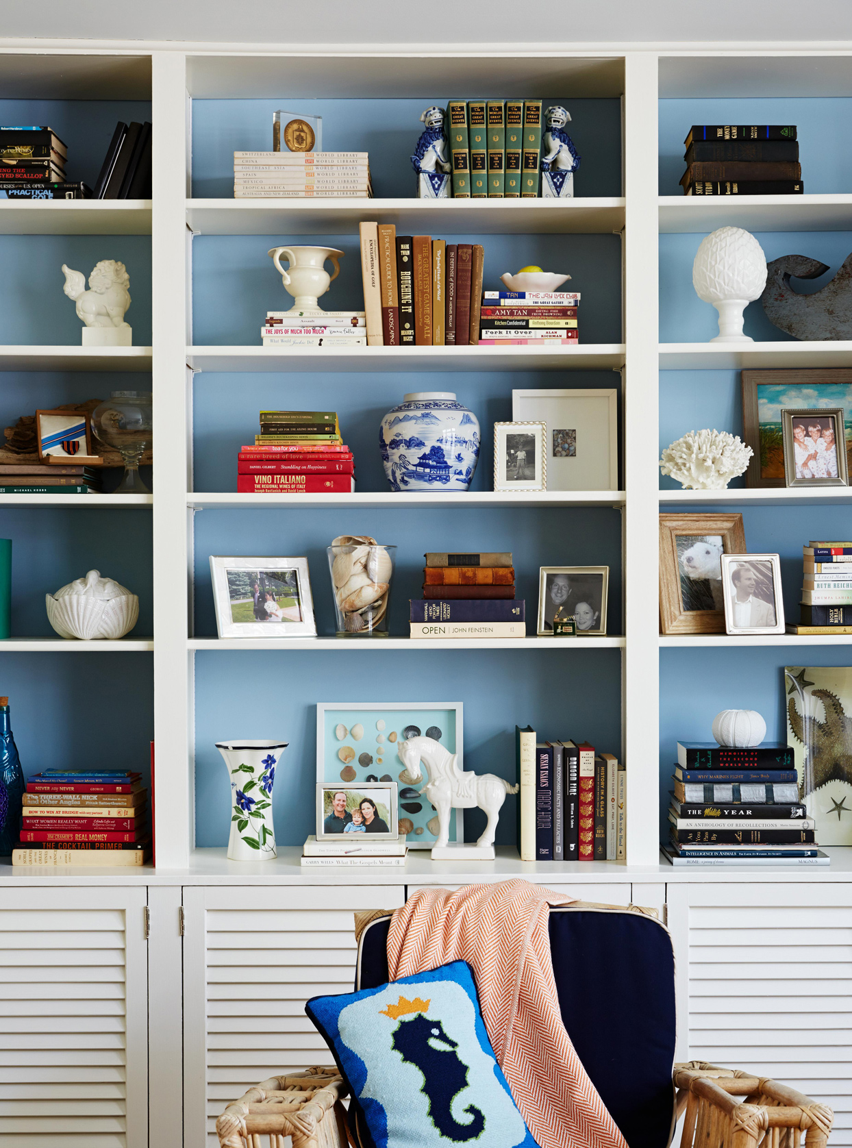 blue backsplash bookcase