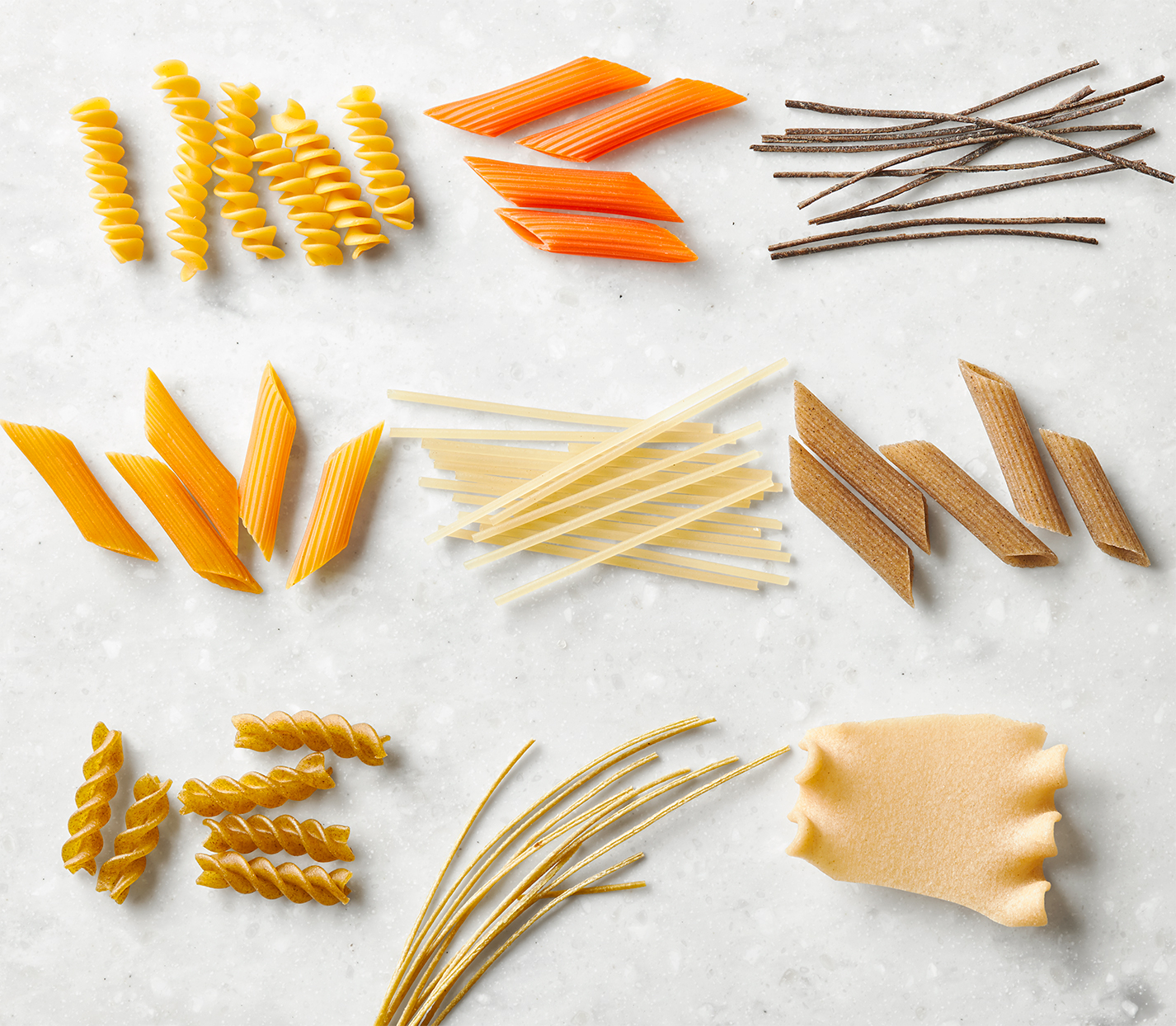 layout of dried gluten free pasta noodles