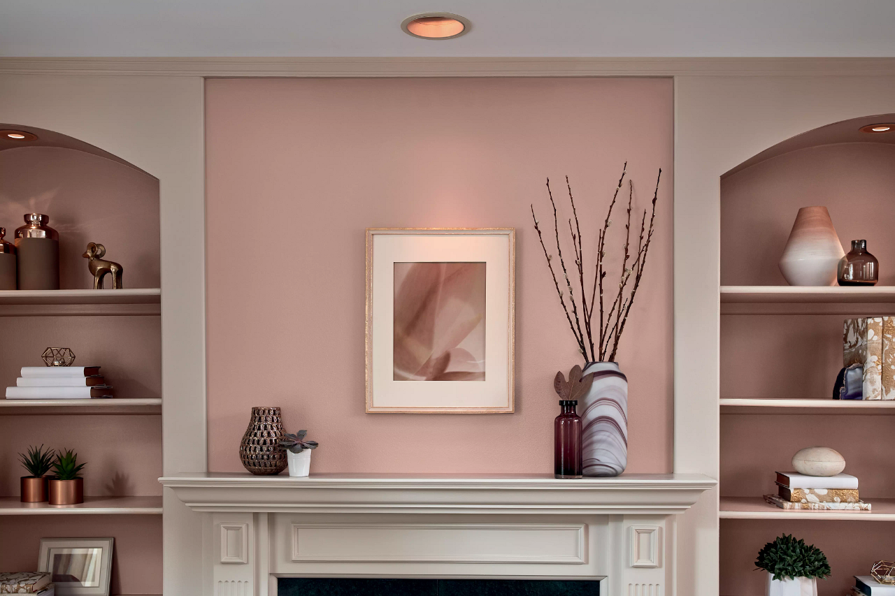 fireplace mantel and built-ins painted muted pink and warm white
