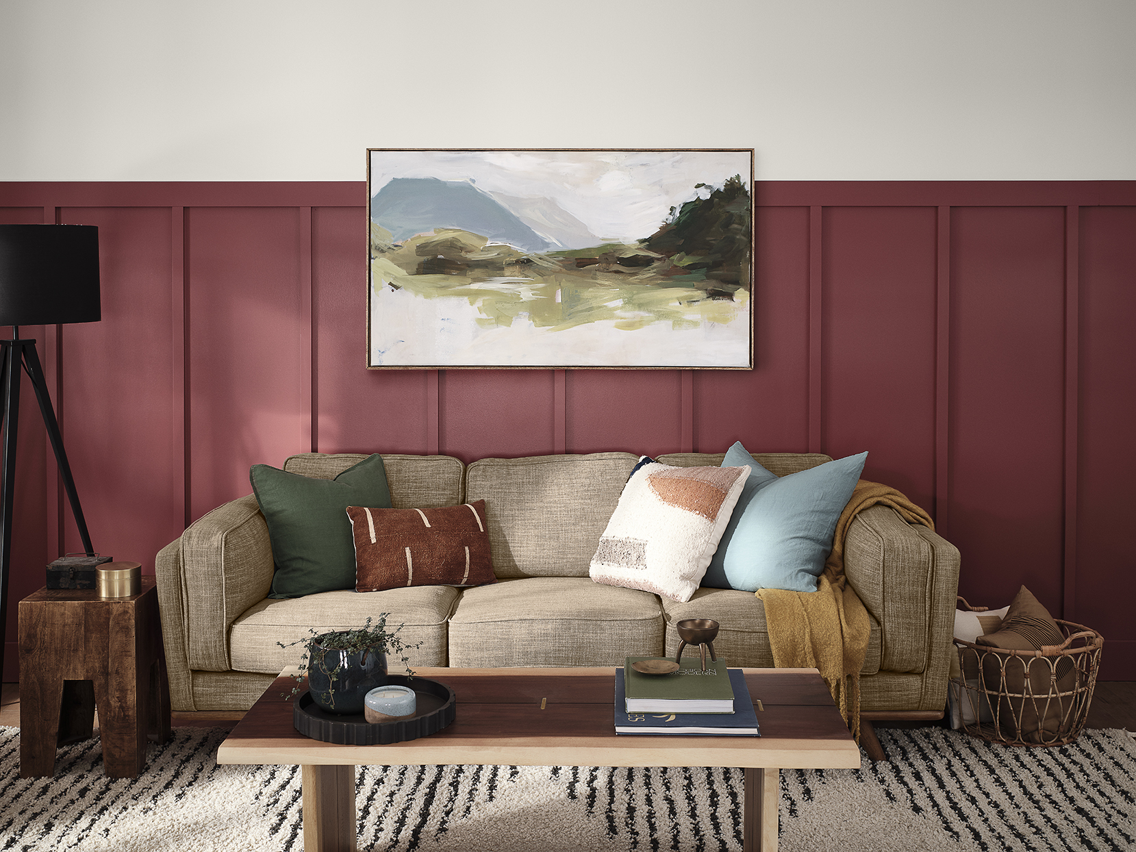 living room with red wainscoting and warm white walls