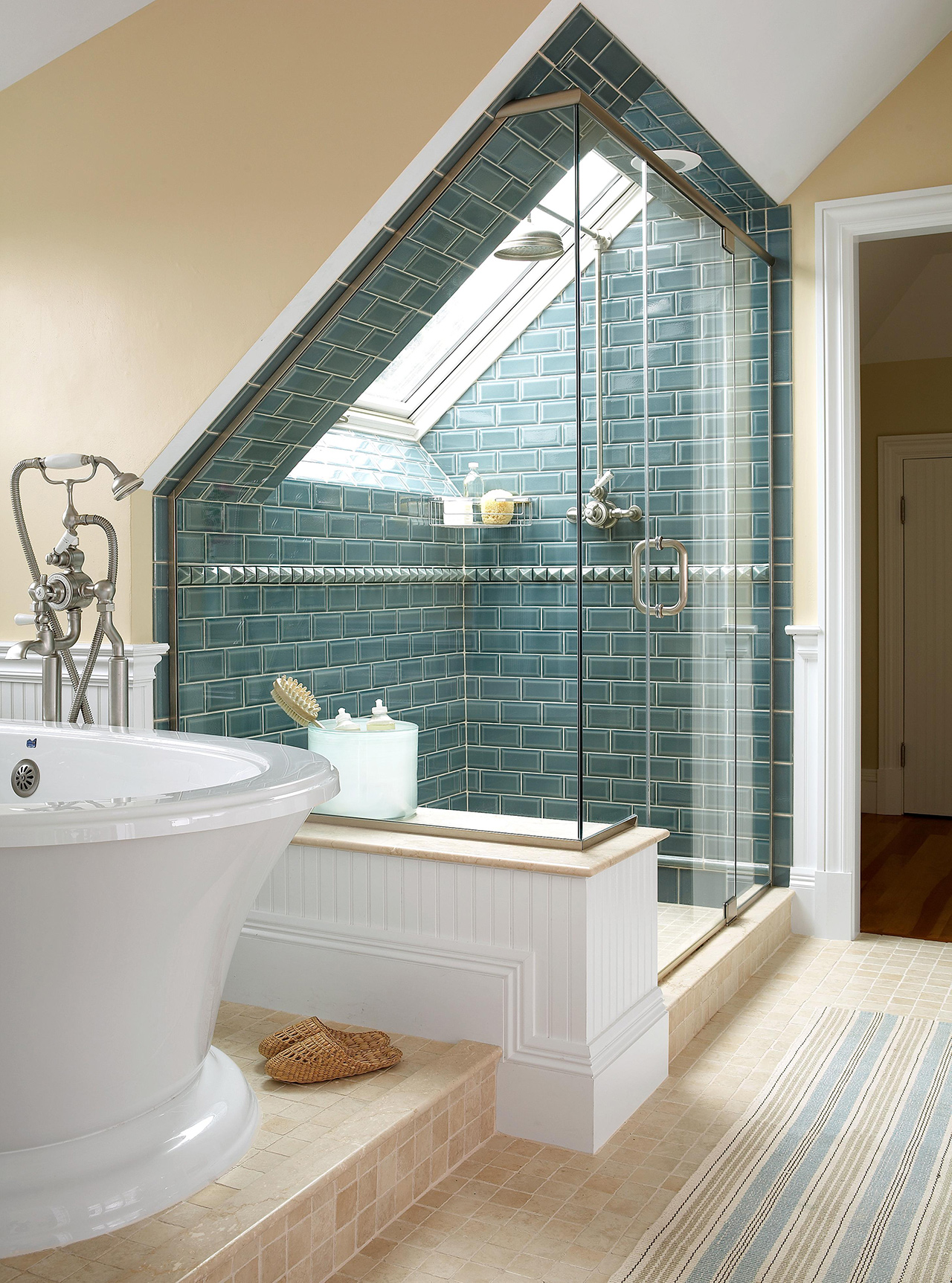 bathroom skylight in shower blue tile