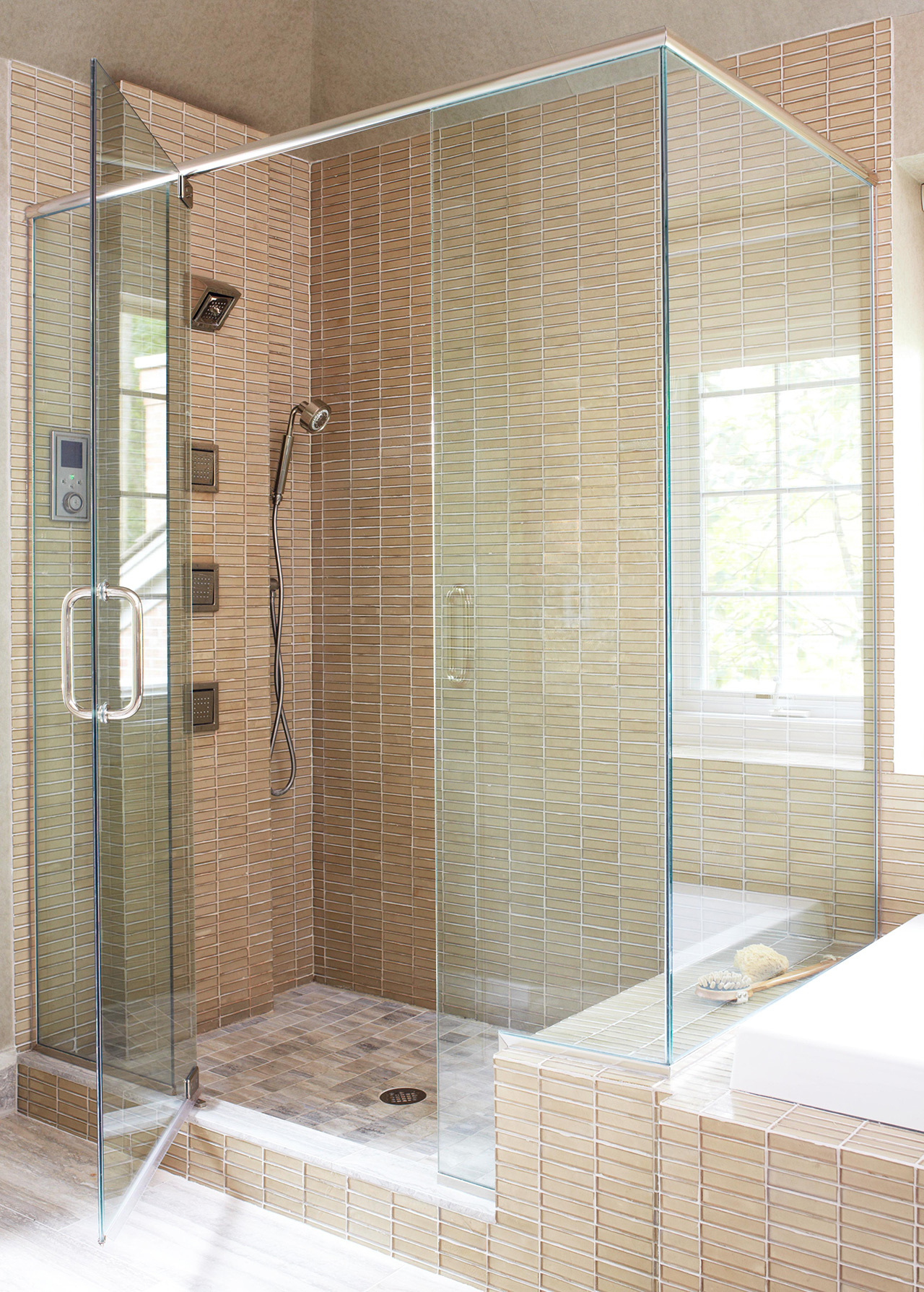 frameless shower glass tile bench