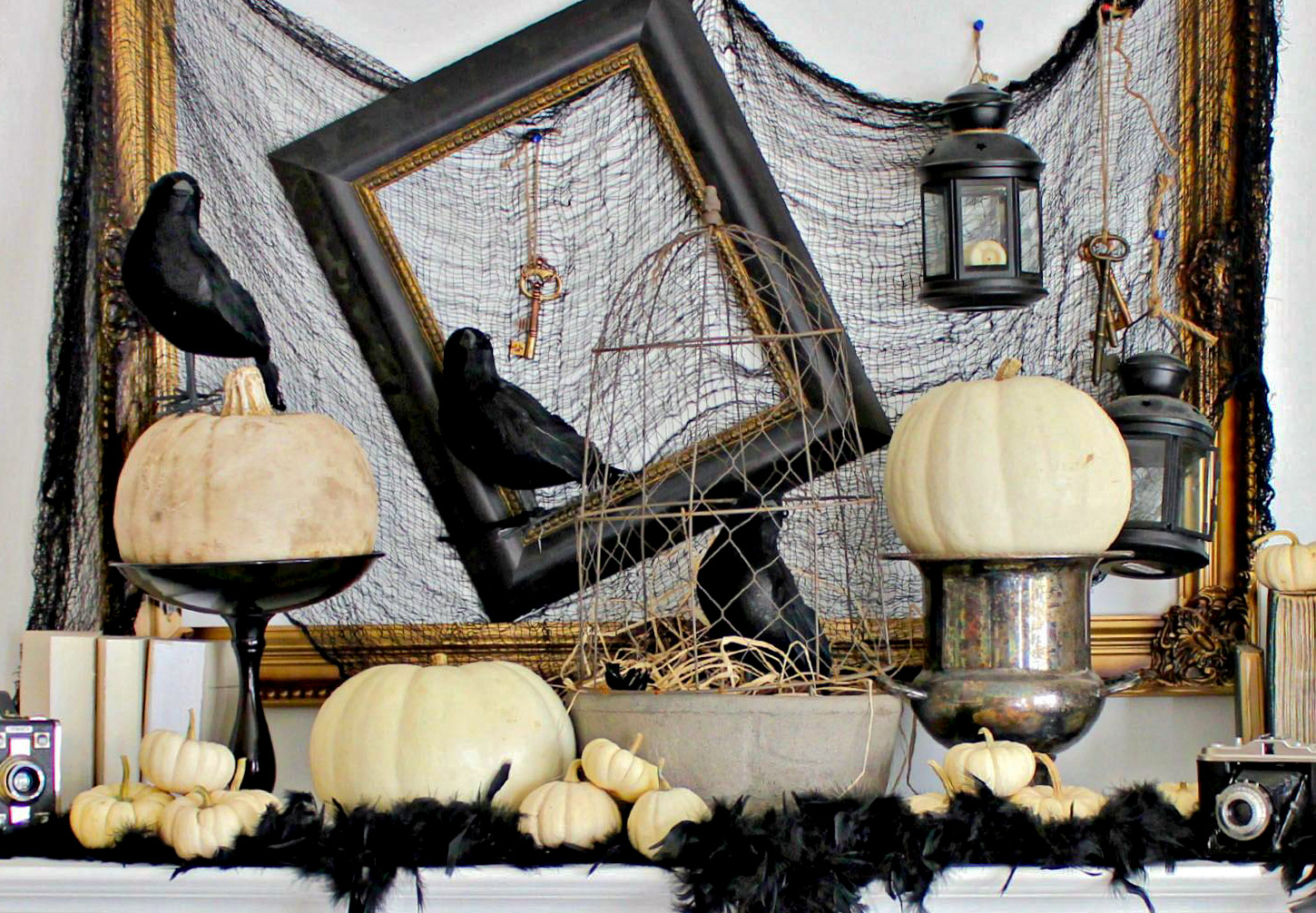 halloween white pumpkins and black décor