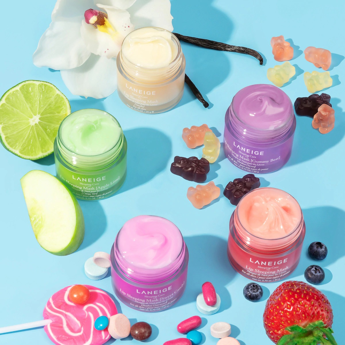 bottles of face mask with fruit