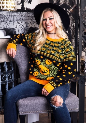 woman wearing halloween sweater