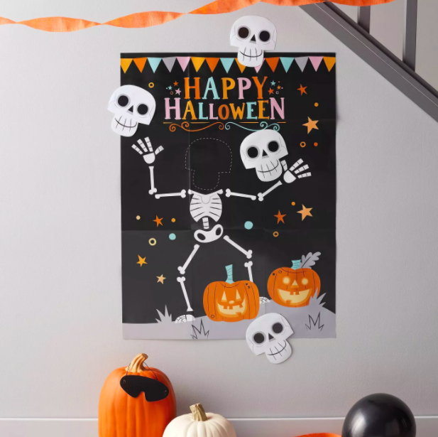 happy halloween wall sign with a skeleton