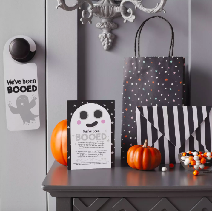 black Halloween gift bag with sign that says you've been booed