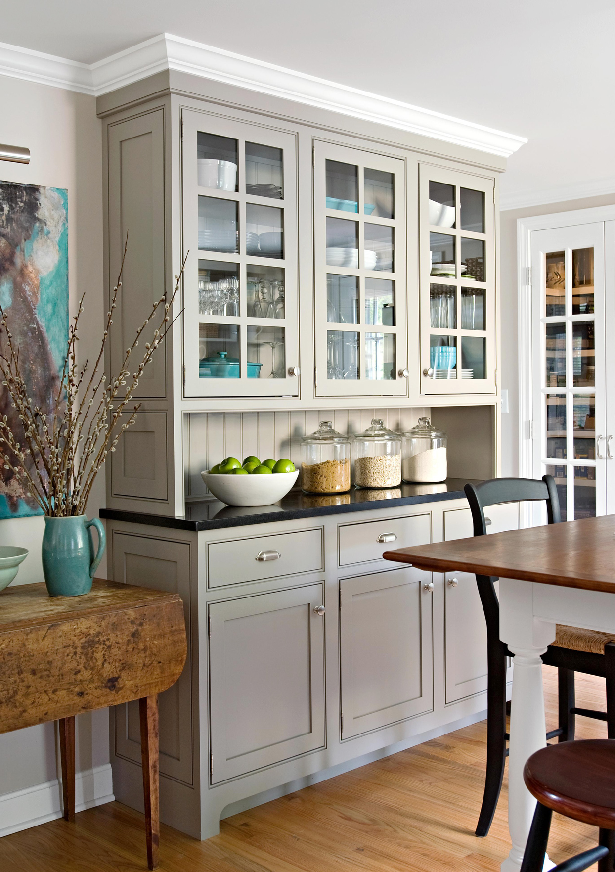 grey built in cabinets