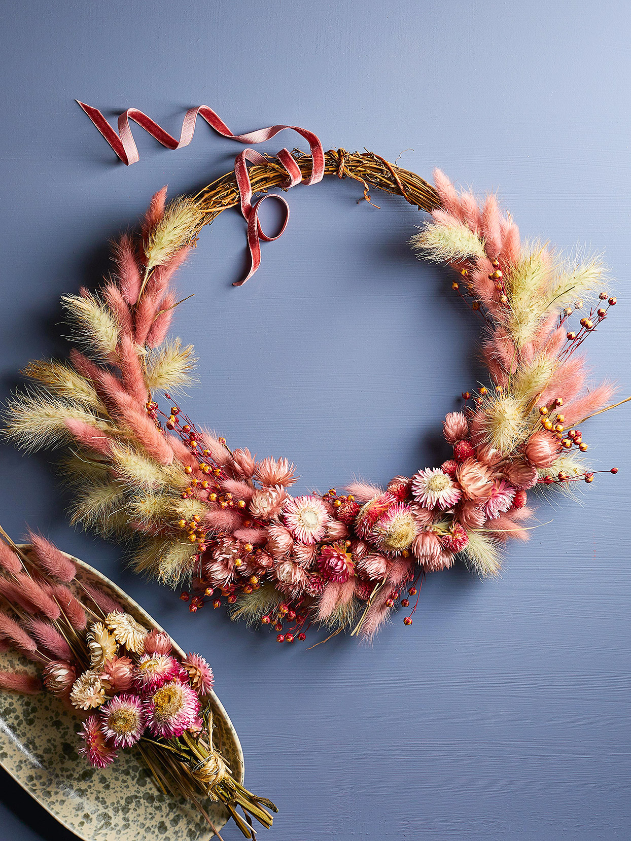 pink dyed bunny tails grass berries flowers wreath
