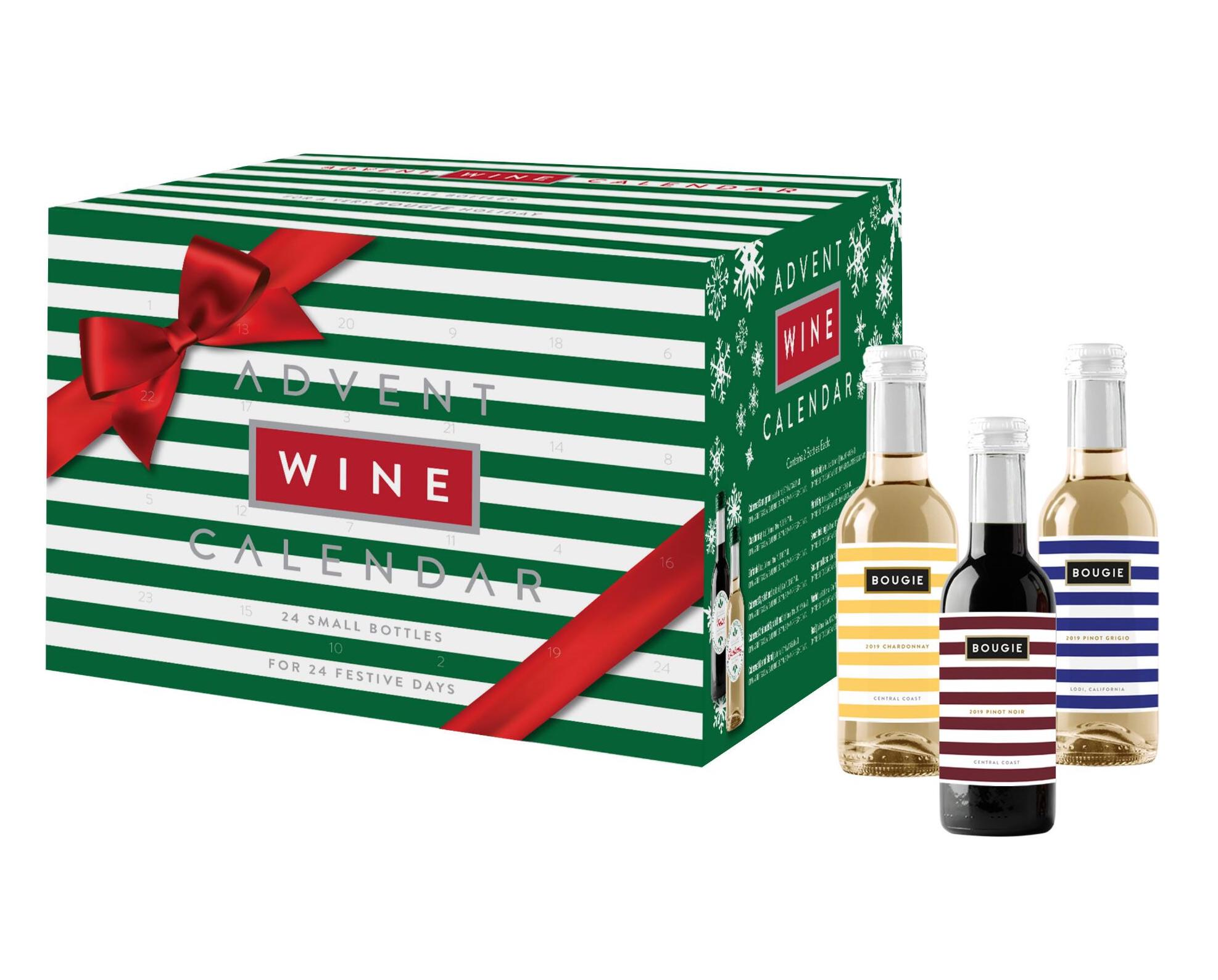 green and white striped box of wine advent calendar