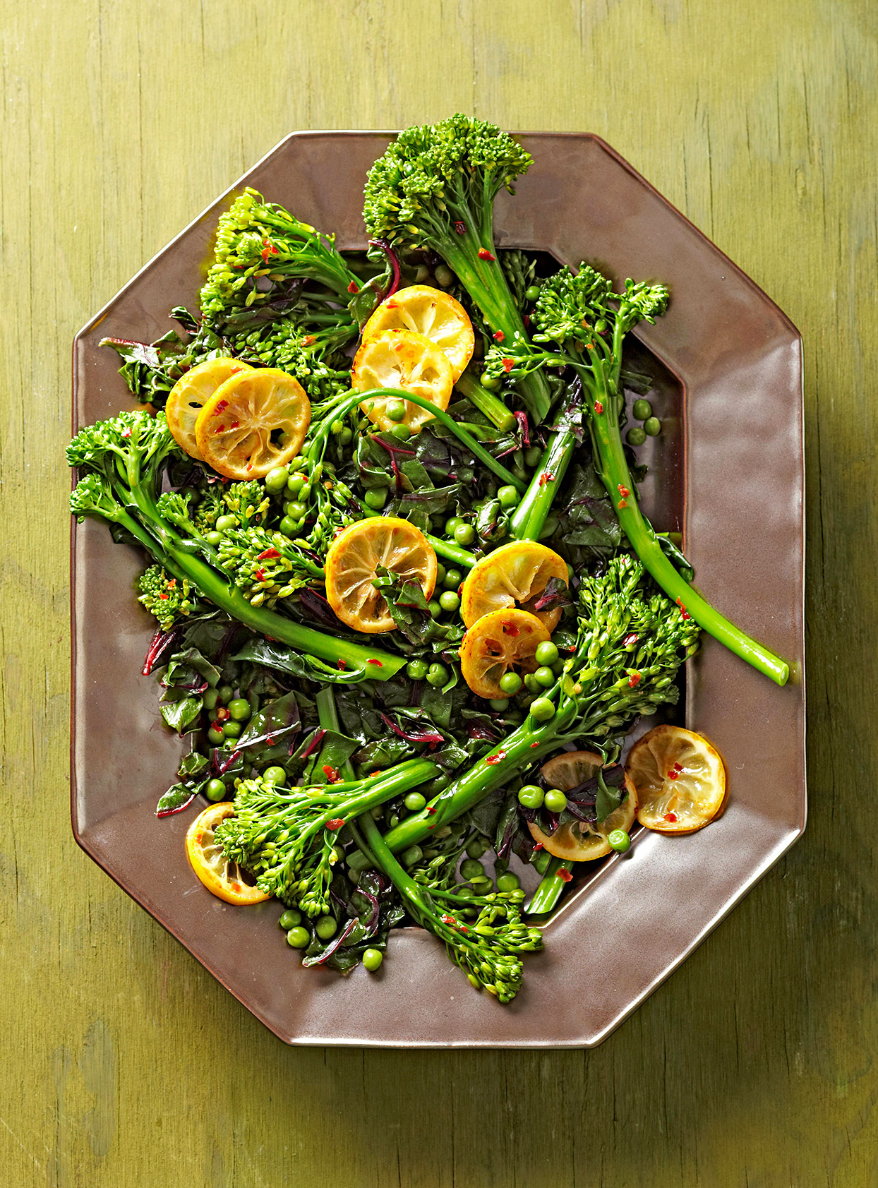 Broccolini with Peas and Seared Lemons