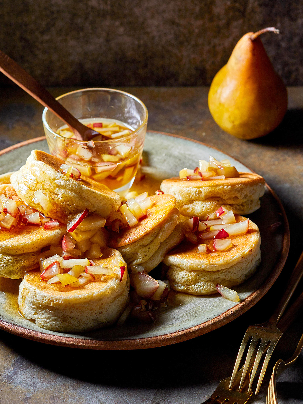Souffle Pancakes with Maple-Pear Syrup