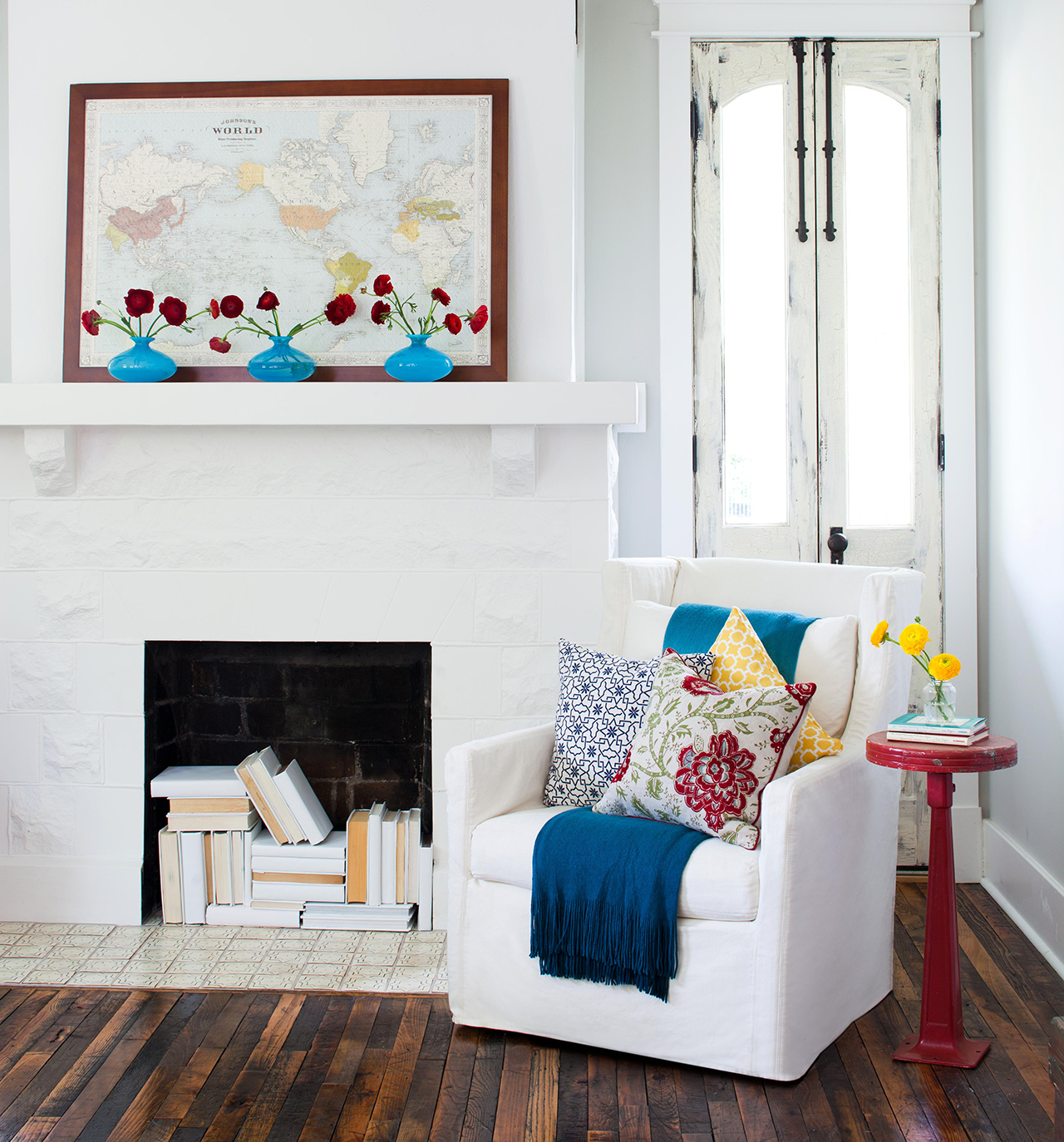 large map over mantel