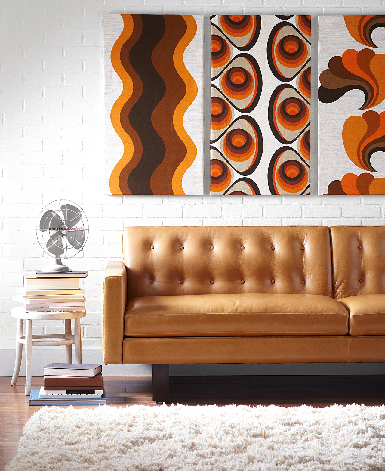 seventies-style print orange couch