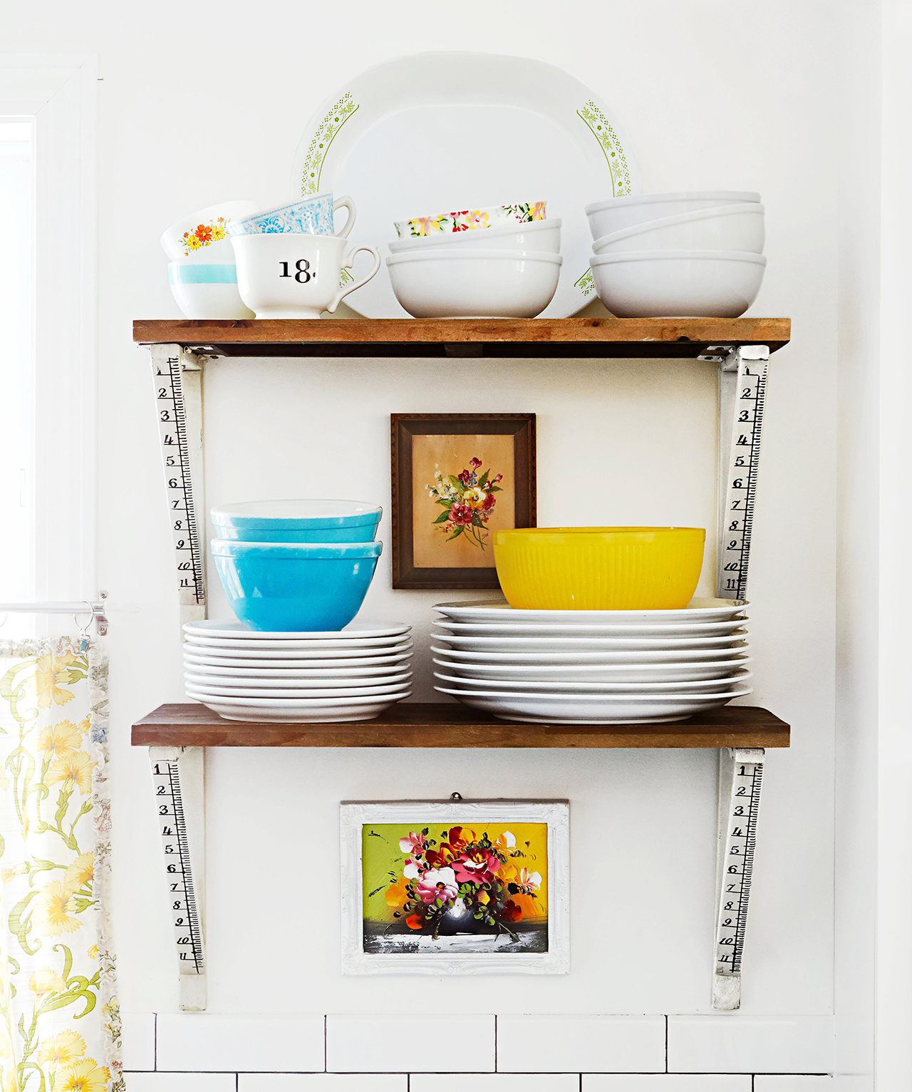 stacked style display open shelves