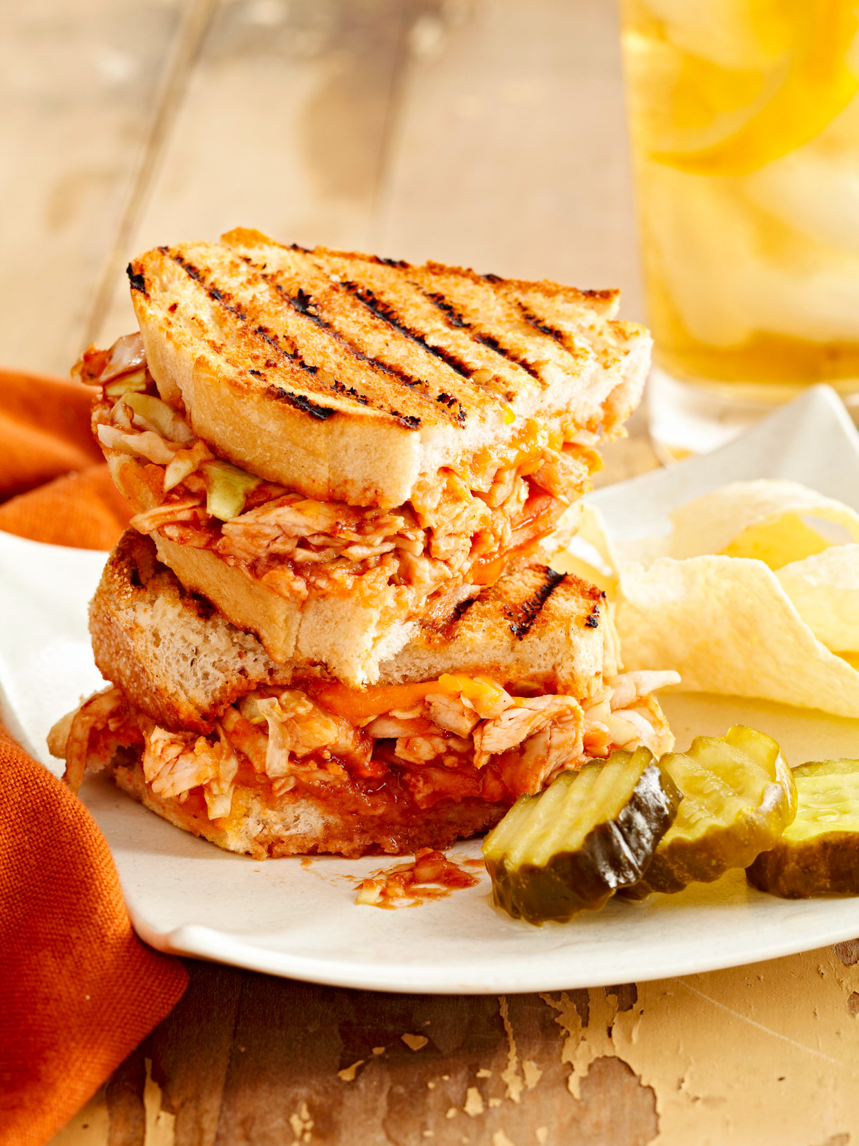 BBQ Chicken and Smoked Cheddar Sandwiches