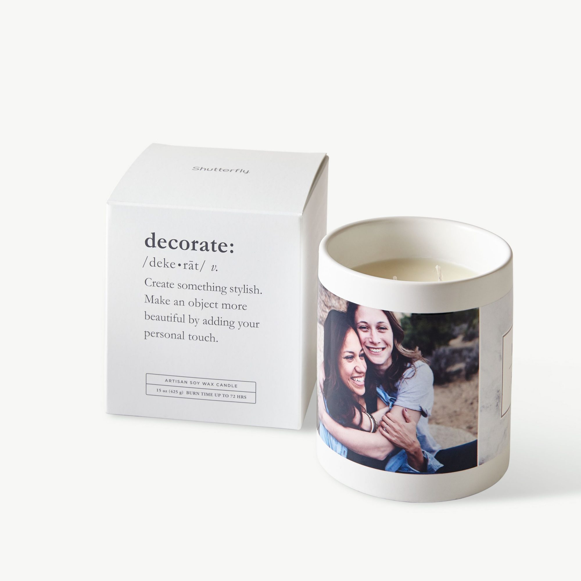 candle with personalized photo