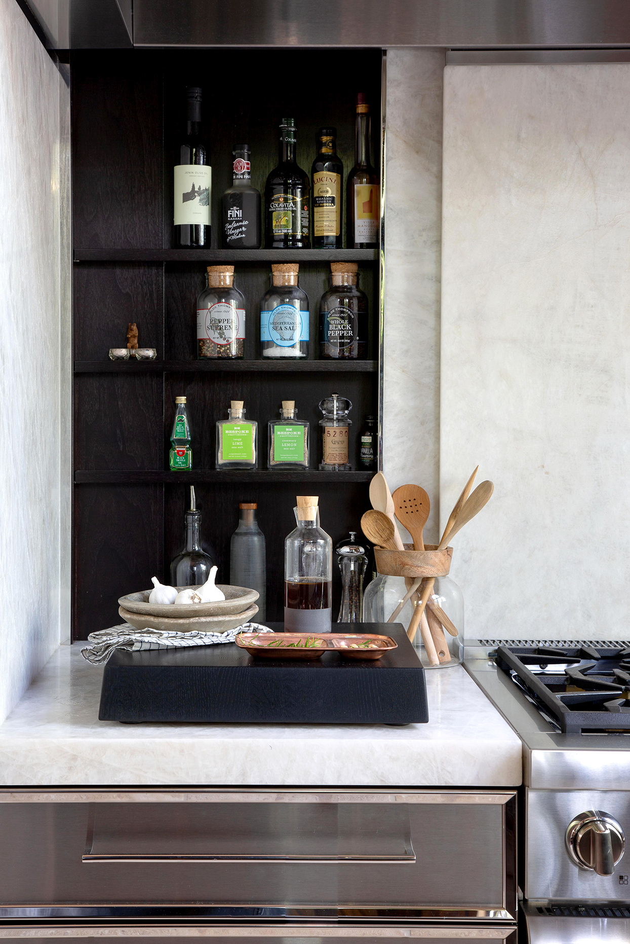 black kitchen shelf with spices