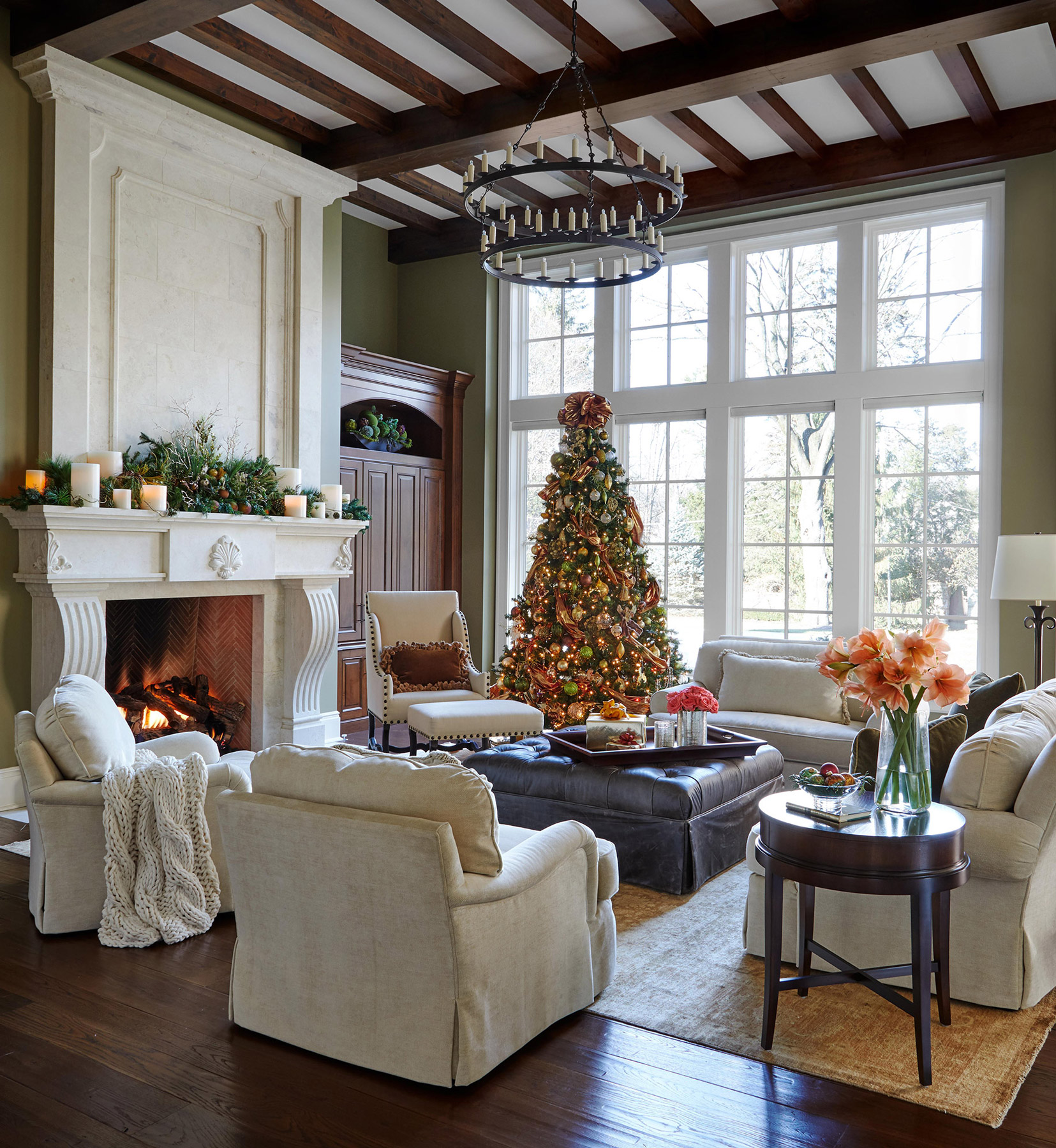 family room with fireplace white mantel and furniture
