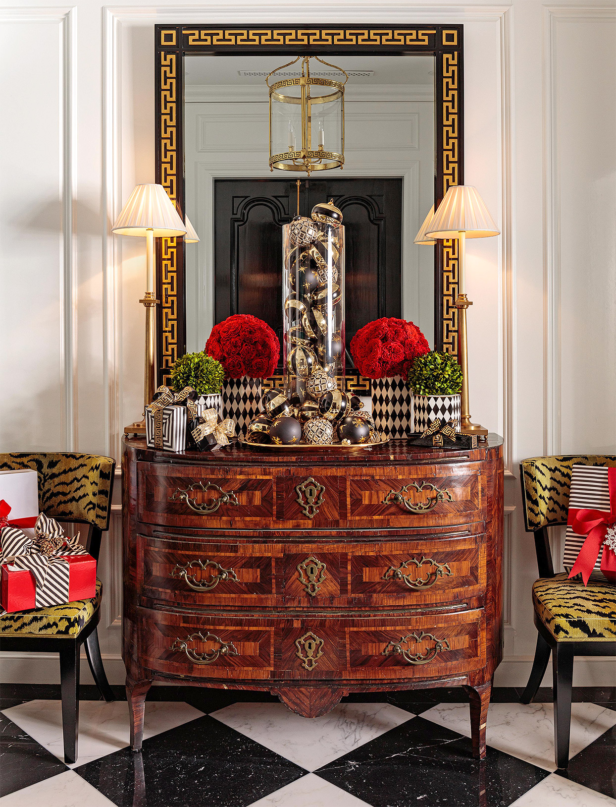 chest of drawers with mirror roses ornaments on display