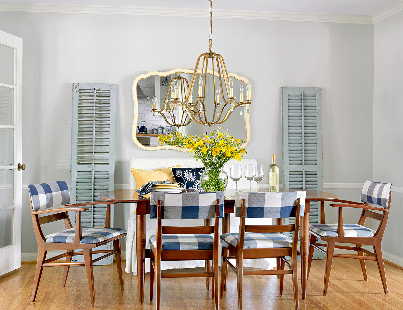 dining set buffalo check chairs