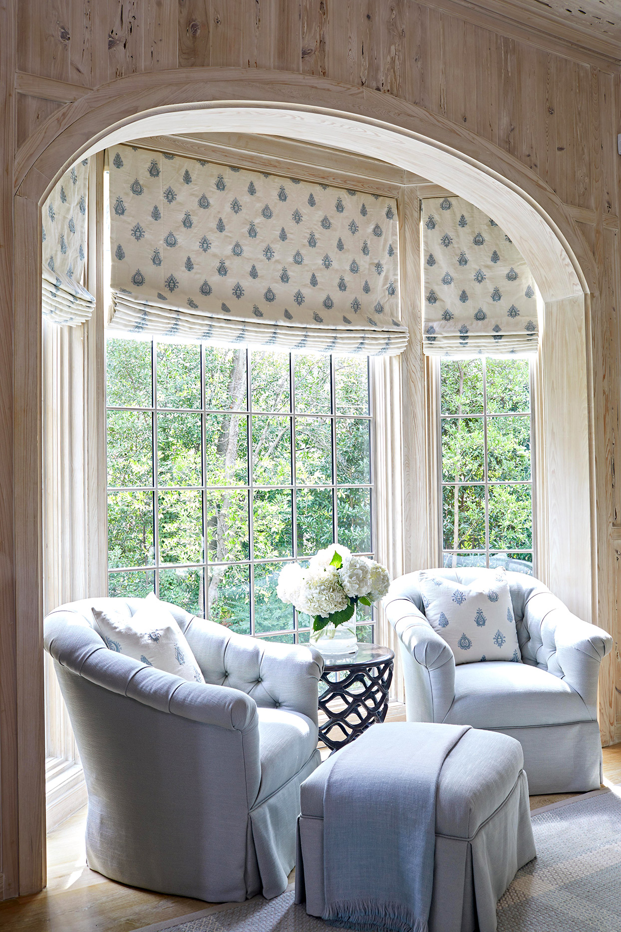 sitting nook with light blue chairs