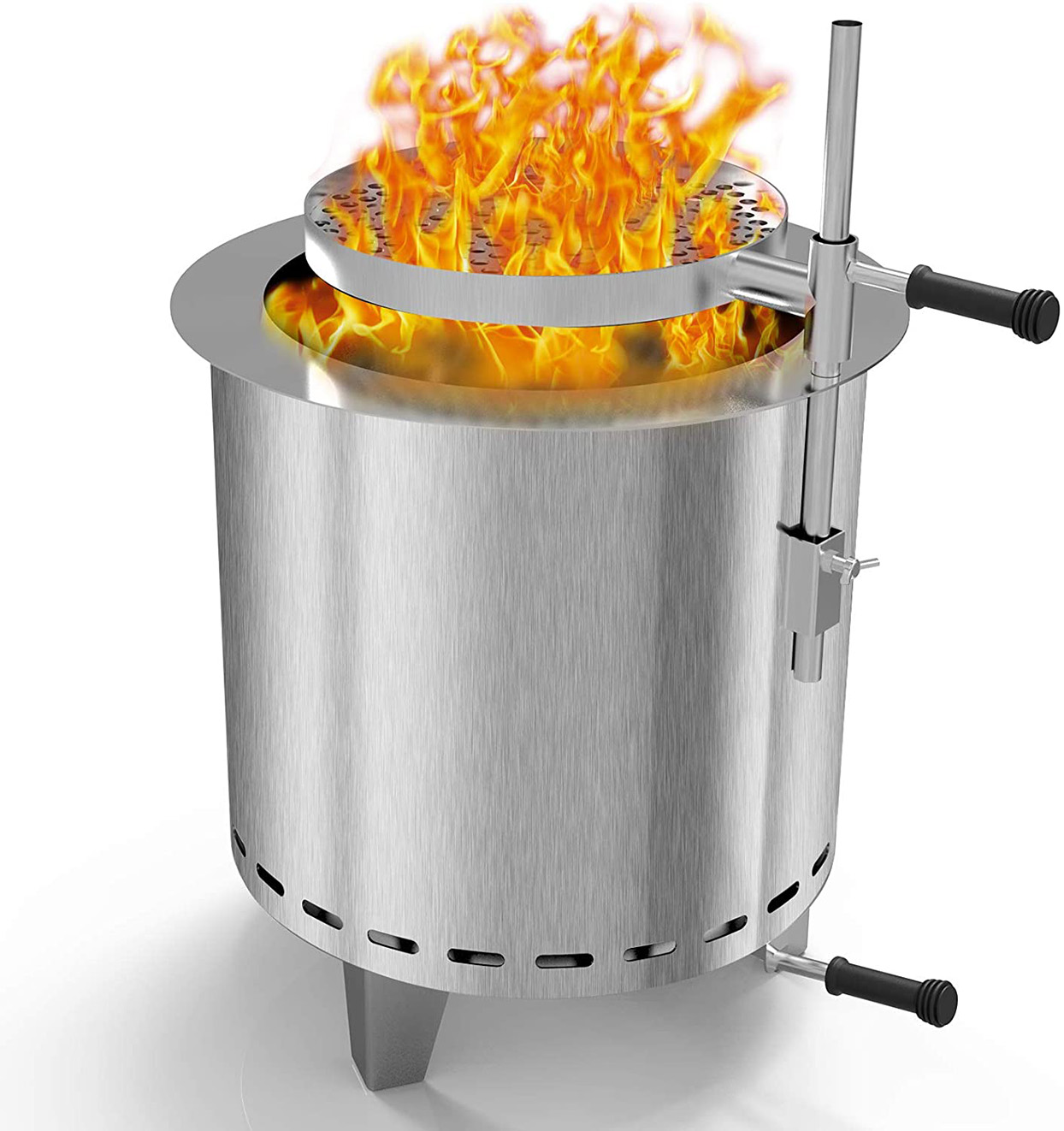 stainless-steel smokeless firepit with grill attachment