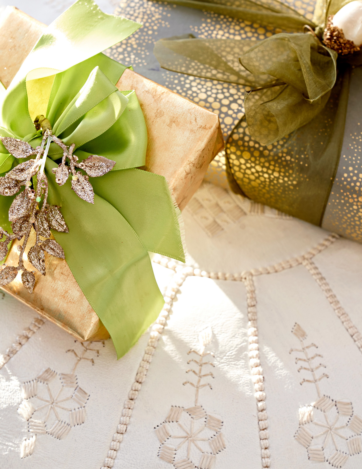gold and green wrapped presents on tree skirt