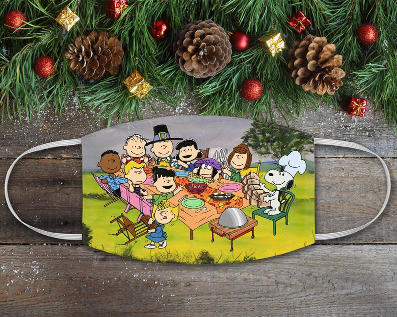 scene from charlie brown thanksgiving on a mask
