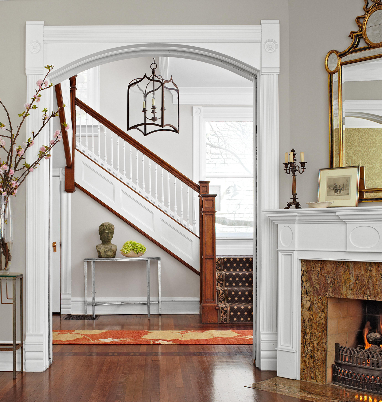 entryway staircase white balusters
